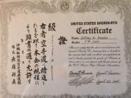 US Shorin Ryu Certificate